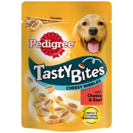Pedigree Pouch Tasty Bites Adult Dog Treats 140g Cheesy Nibbles
