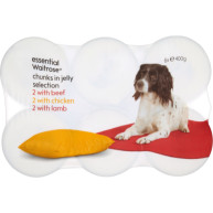 essential Waitrose Meat Selection in Jelly Adult Dog Food 400g x 6