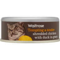 Waitrose Shredded Chicken with Duck in Gravy Cat Food 80g x 12