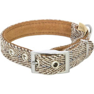 Earthbound Tweed Beige Dog Collar Large