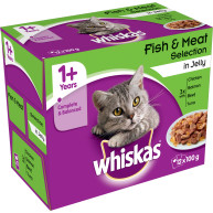 Whiskas 1+ Fish & Meat Selection in Jelly Adult Cat Food 100g x 12