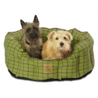 House of Paws Green Tweed Oval Snuggle Dog Bed Small