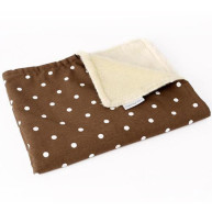 Charley Chau Faux Fur Fleece Dotty Chocolate Dog Blanket