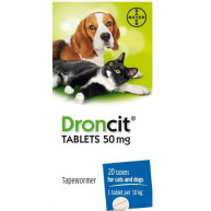 Droncit Tablets for Cats & Dogs 50mg - 20 Tablets