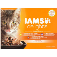 IAMS Delights Land Collection in Gravy Adult Cat Food 85g x 12
