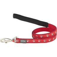 Red Dingo Dog Lead Pawprint Red