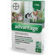 Advantage Flea Control 40 for Small Cats Dogs and Rabbits (4 pipettes) NFA-DCS