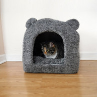 Rosewood Grey Teddy Bear Cat Bed