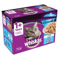 Whiskas 1+ Casserole Fish Selection in Jelly Adult Cat Food  85g x 12