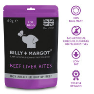 Billy & Margot Beef Liver Bites Dog Treats 60g