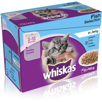 Whiskas 2-12 Months Fish Selection in Jelly Kitten Food 100g x 12