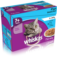 Whiskas 7+ Fish Selection in Jelly Cat Food Pouches 100g x 12