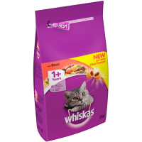 Whiskas Dry 1+ Beef Adult Cat Food 2kg