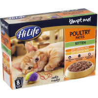 HiLife Tempt Me! Pouch Poultry Pate Kitten Food 8 x 85g