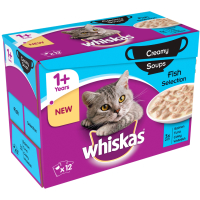 Whiskas 1+ Creamy Soup Fish Selection Adult Cat Food 85g x 12