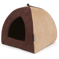 Ancol Timberwolf Faux Suede Pyramid Cat Bed Brown Faux Suede