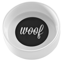 Mason Cash Woof Dog Bowl White & Black