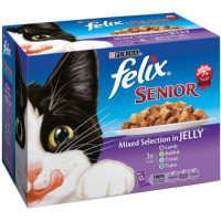 Felix Fish & Meat Selection In Jelly Pouch Senior Cat Food 100g x 12