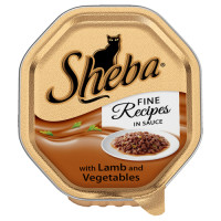 Sheba Tray Fine Recipes in Sauce Lamb & Vegetables Adult Cat Food 85g x 18