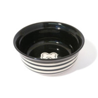 Rosewood Stoneware Black Stripe Dog & Cat Bowl 18cm - Small