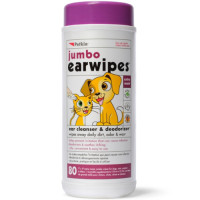 Petkin Jumbo Ear Wipes For Dogs & Cats 80 wipes