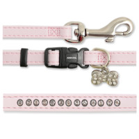 Small Bite Diamante Deluxe Collar & Lead Puppy Set  Pink