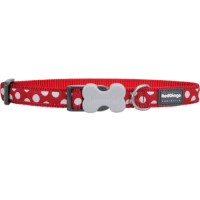 Red Dingo Polka Dot Dog Collar Red with White Spots - Medium