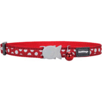 Red Dingo Cat Collar Spots Red with White Spots