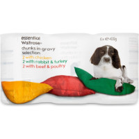 essential Waitrose Meat Selection in Gravy Adult Dog Food 400g x 6