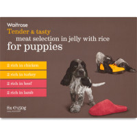 Waitrose in Jelly Meat with Rice Puppy Food 150g x 8