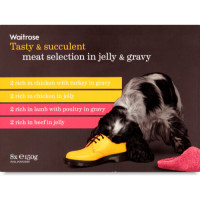 Waitrose Meat Selection in Jelly & Gravy Adult Dog Food 150g x 8