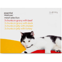 essential Waitrose Meat Pouches in Jelly & Gravy Pouch Cat Food 100g x 12