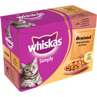 Whiskas Pouch Simply Braised Meat Selection in Gravy Adult Cat Food 85g x 12