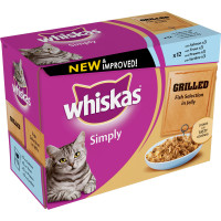 Whiskas Pouch Simply Grilled Fish Selection in Jelly Adult Cat Food 85g x 12