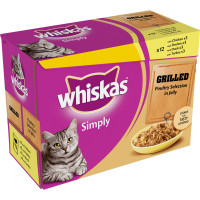 Whiskas Pouch Simply Grilled Poultry Adult Cat Food 85g x 12