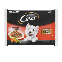 Cesar Pouch Deliciously Fresh Selection In Sauce Adult Dog Food 100g x 4