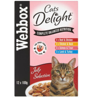 Webbox Cat Delight Selection in Jelly Adult Cat Food 100g x 12