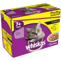 Whiskas 7+ Poultry Selection in Gravy Cat Food 100g x 12