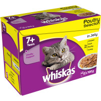 Whiskas 7+ Poultry Selection in Jelly Cat Food 100g x 12