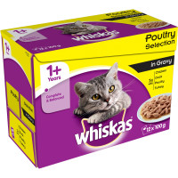 Whiskas Pouch Poultry Selection in Gravy Adult Cat Food 100g x 12