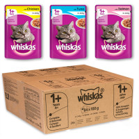 Whiskas 1+ Mixed Selection in Jelly Wet Adult Cat Food Pouch 100g x 84