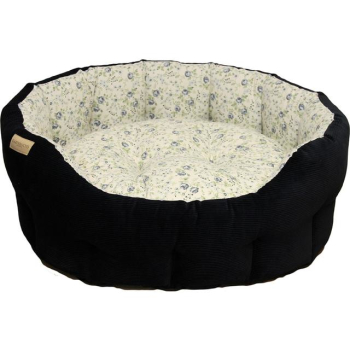 Earthbound Classic Floral Cord Navy Dog Bed