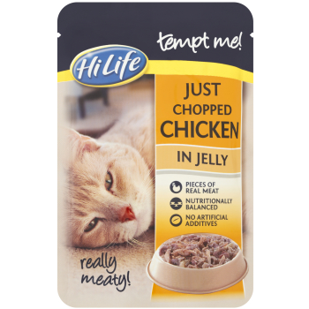 HiLife Tempt Me! Pouch Just Chopped Chicken Jelly Adult Cat Food