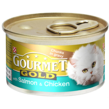 Gourmet Gold Salmon & Chicken in Gravy Cat Food 12 x 85g