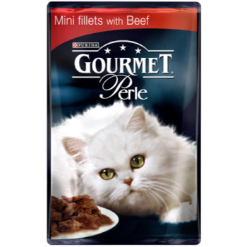 Gourmet Perle Mini fillets with Beef Cat Food