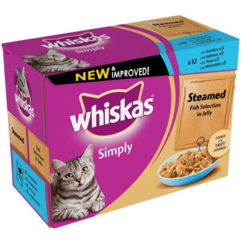 Whiskas Pouch Simply Steamed Fish in Jelly Adult Cat Food