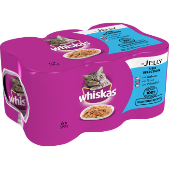 Whiskas Can Fish Selection in Jelly Adult Cat Food