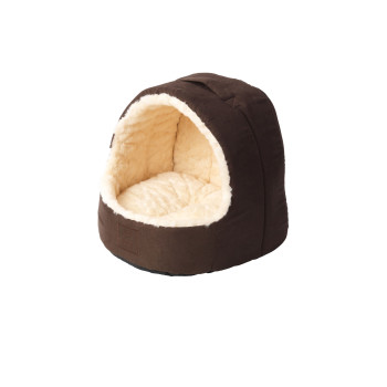 House Of Paws Faux Suede & Fur Hooded Cat Bed