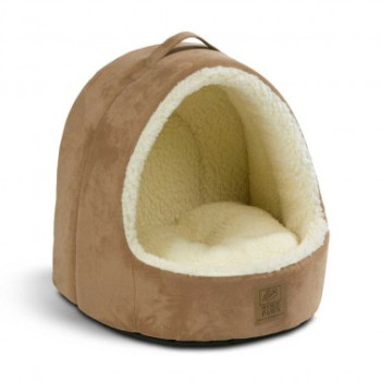 House of Paws Hooded Suede & Sheepskin Cat Bed