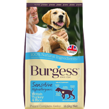 Burgess Complete Sensitive Turkey & Rice Puppy Dog Food